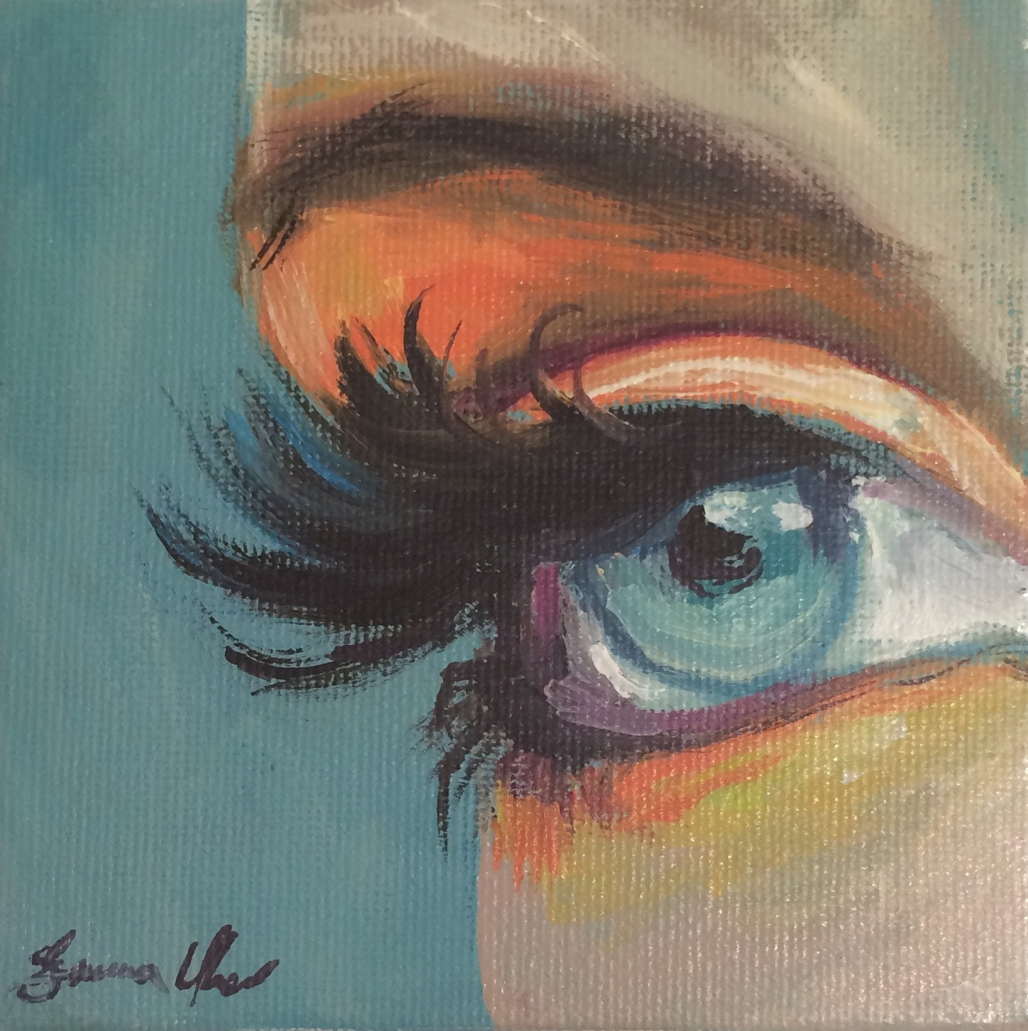 "Peachy Eye 4""x4"""