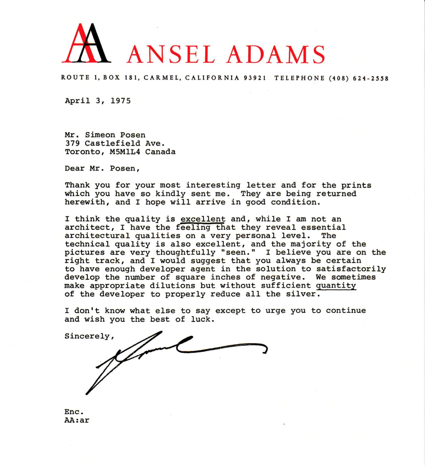 Ansel Adams Feedback Letter