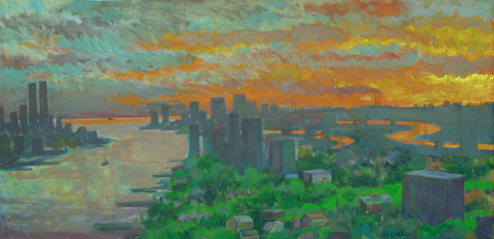 "Gross National Product - The Twin Towers,  20"" x 43"""
