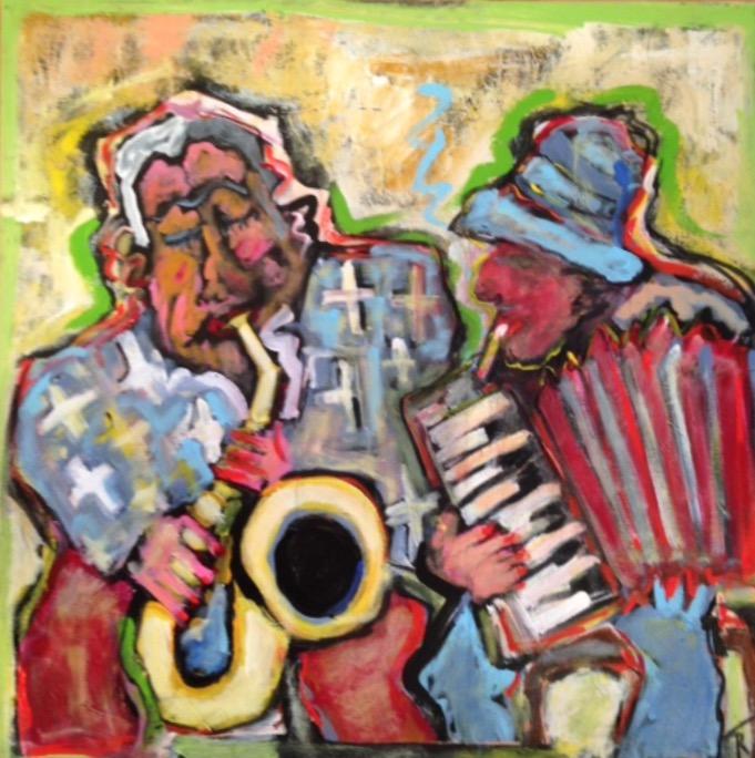 "Street Musicians - Oslo 31"" x 31"""