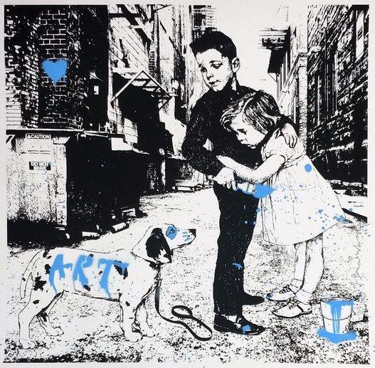 """Pup Art (Blue) - 23""""x23"""""""