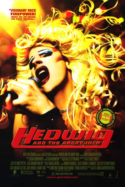 "HEDWIG follows the story of a transgender person who wants to be a rock star. Great music and costumes along with truths a  bout finding ones ""other half"" will inspire. The film stars Hedwig creator John Cameron Mitchell who is currently starring on Broadway in the musical production of the film."