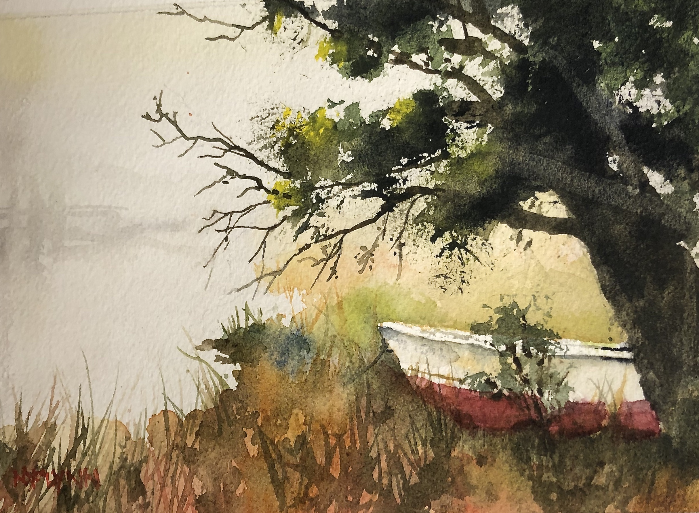 Abandoned Boat - 11 x 15 watercolor - 300.