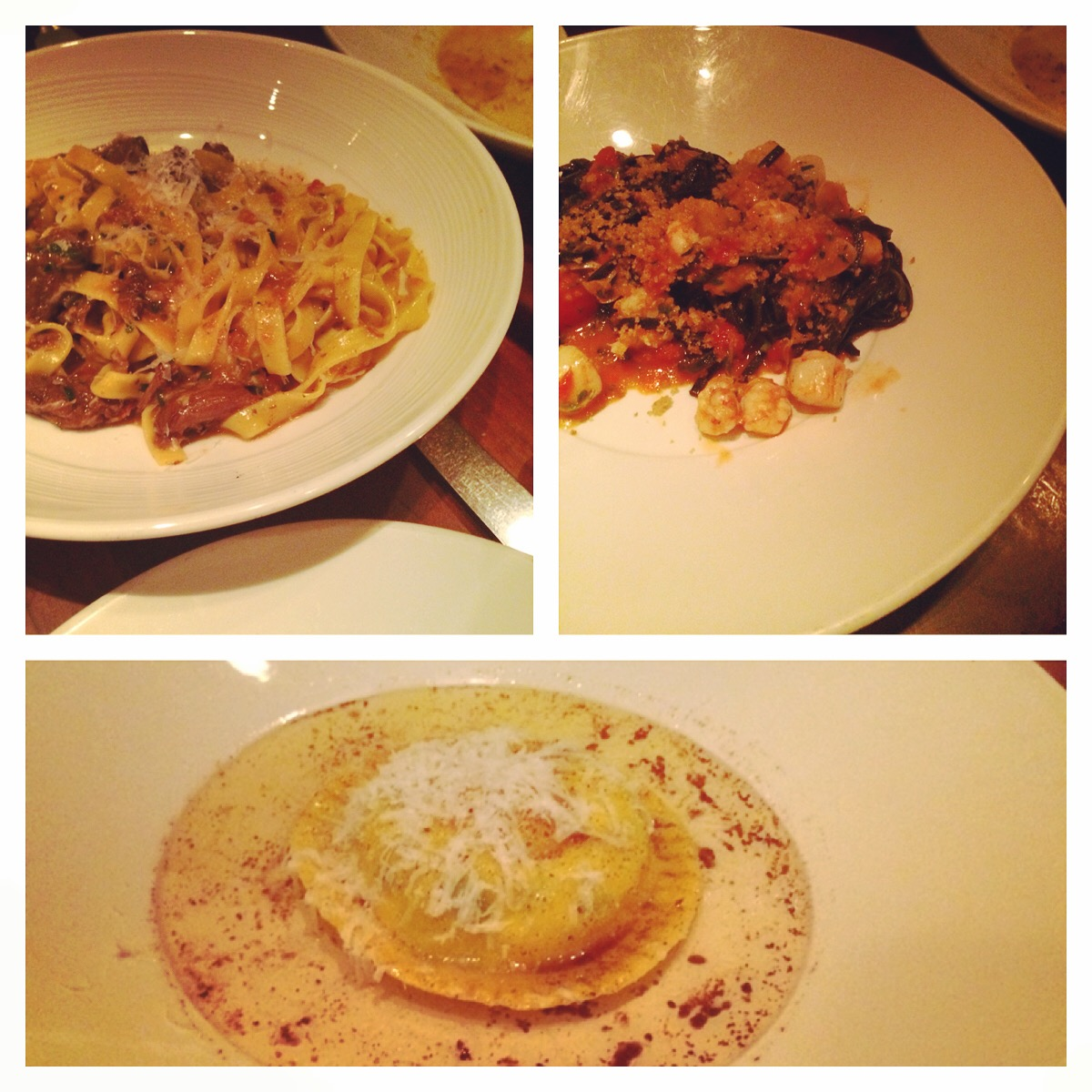 Seven Hills (Nob Hill) - Pasta: Raviolo Uovo, Tagliatelle with Braised Lamb, Chitarrini Neri with Rock Shrimps and Bay Scallops