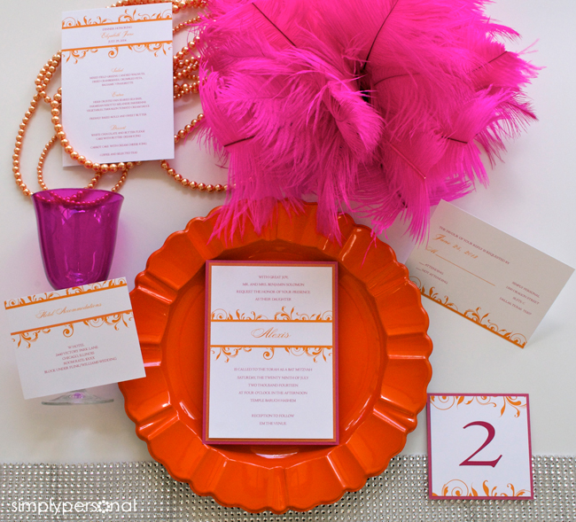 Orange & Fuschia Wedding Invitation Suite