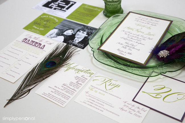 Purple & Green Wedding Invitation Suite