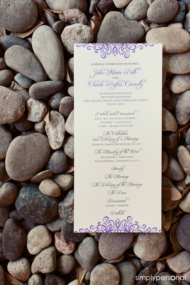 Altar Ego Paperie Lavender Slim Wedding Program