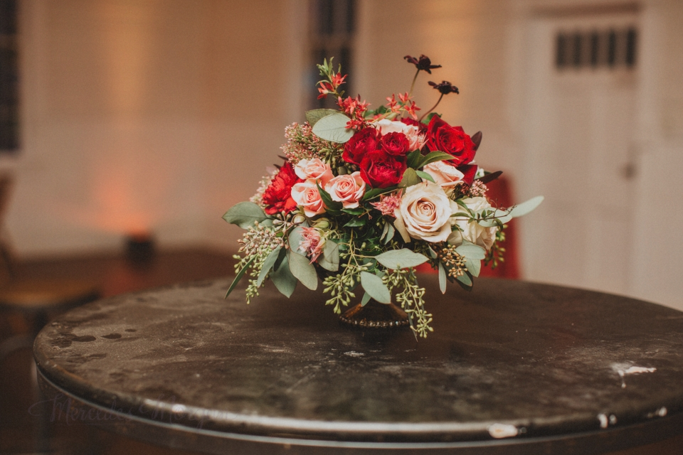 Marsala red Peach Greenery wedding centerpiece