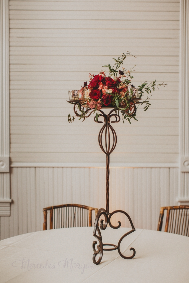 Wrought Iron Candelabra Marsala Red Wedding Centerpiece