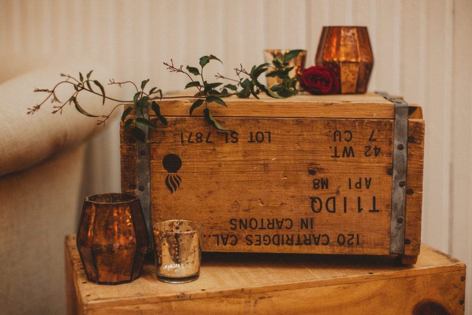 Wooden crates and amber votive holders