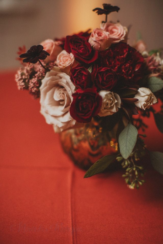 Gold Marsala Red Wedding Centerpiece