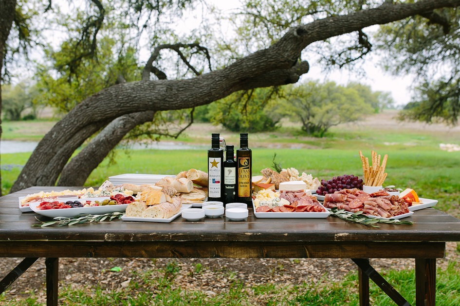 Pink Avocado Wedding Charcuterie Display with Hill Country Olive Oi