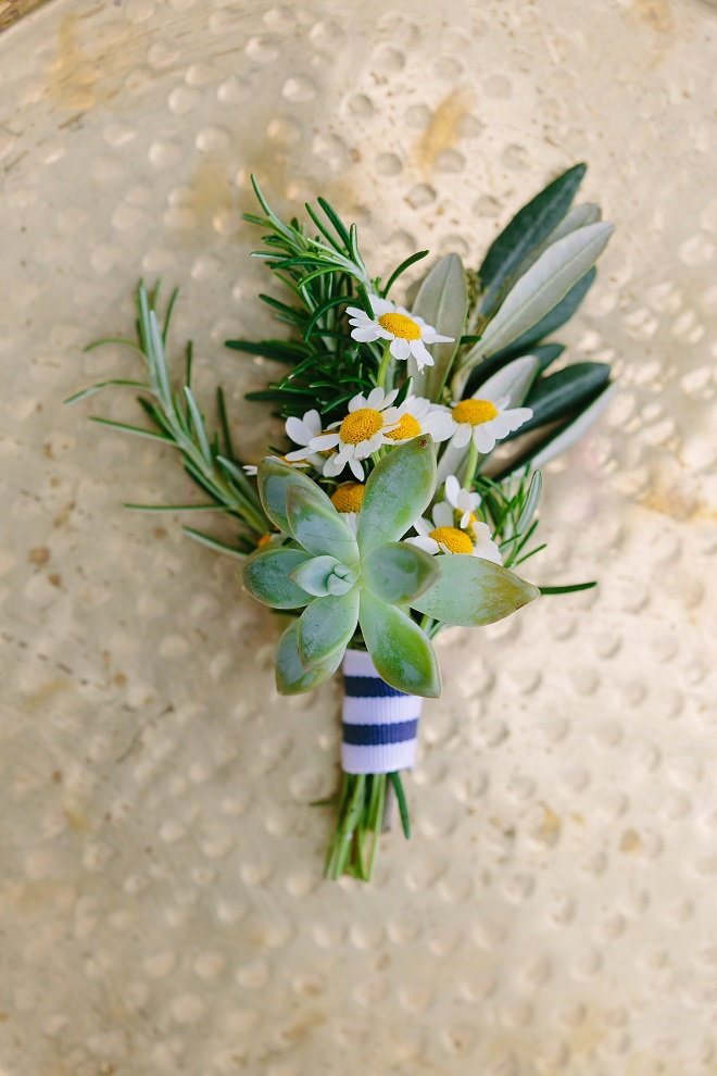 Yellow, Blue and White boutonniere by Sweet Magnolia Floral