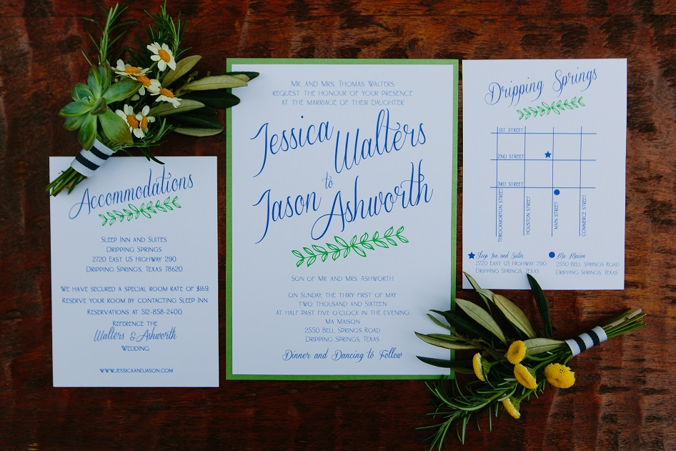 Altar Ego Paperie Blue and Green wedding invitation suite