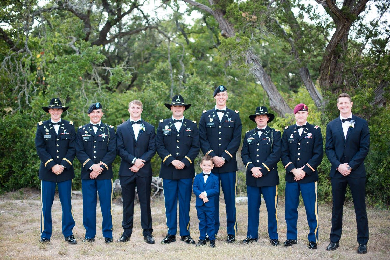 Military Groom & Groomsmen Red Corral Ranch Wedding