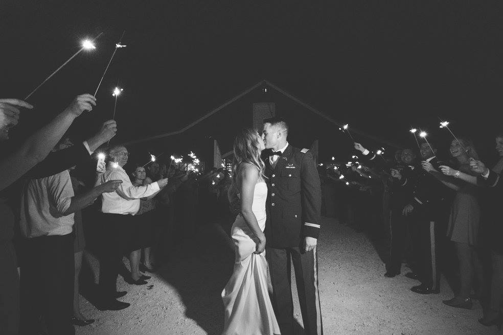 Military Wedding Sparkler Exit Kiss