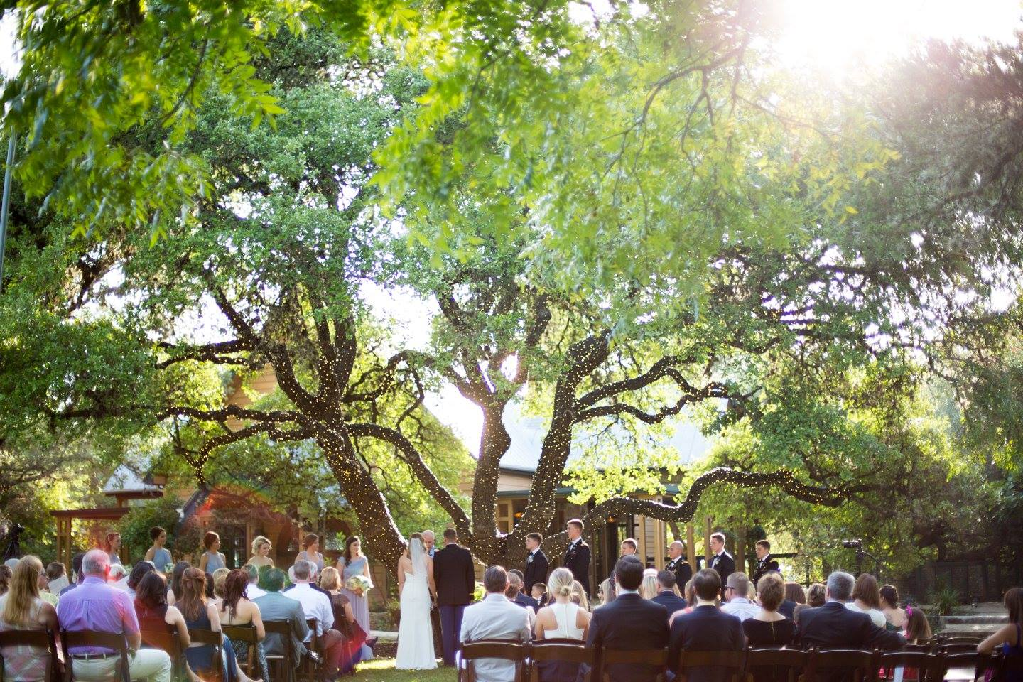 Red Corral Ranch Wedding Ceremony under tree
