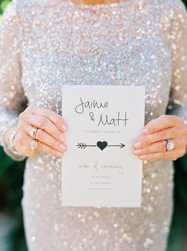 Arrow wedding program