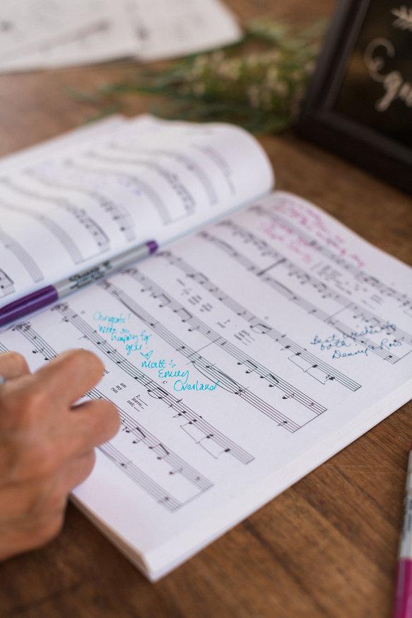 Musical score wedding guest book