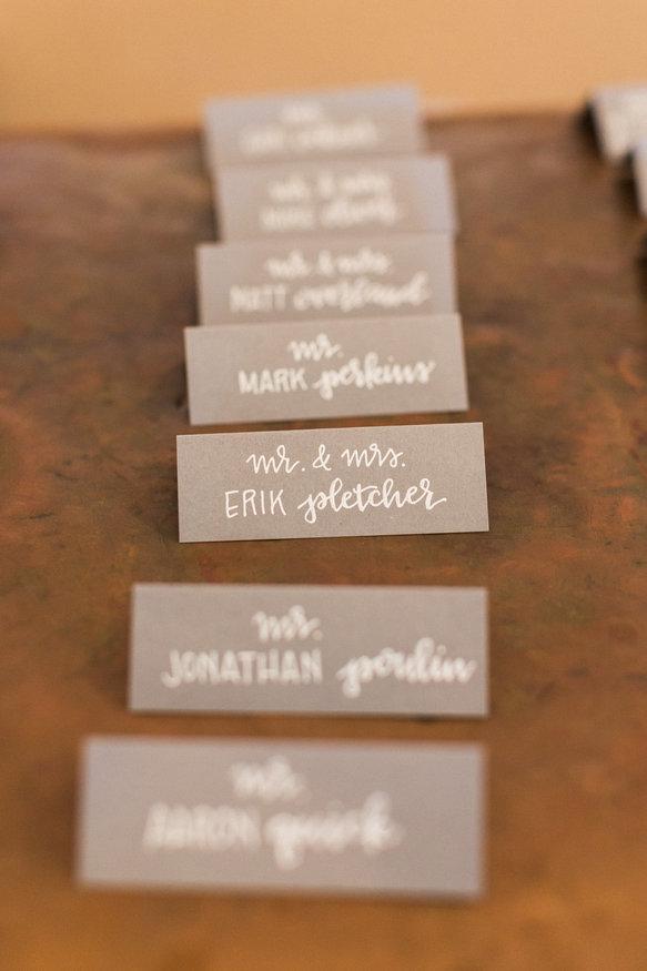 Gray & white wedding escort cards