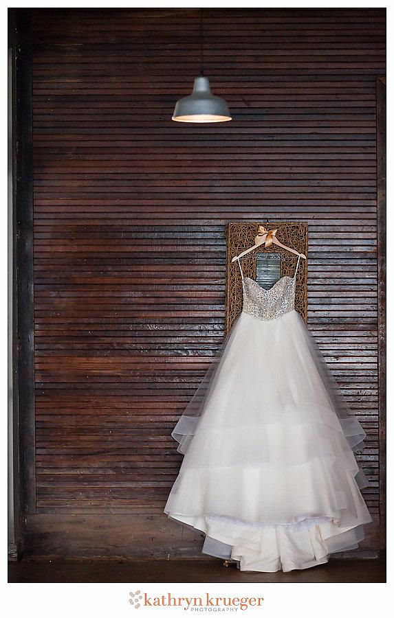 Wedding gown on hanger