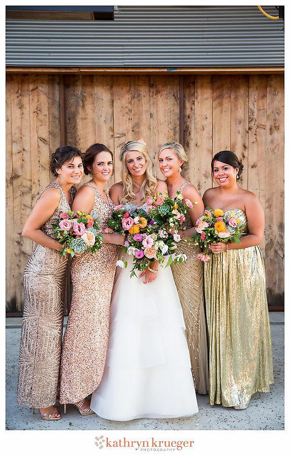 Gold sparkly bridesmaid dresses