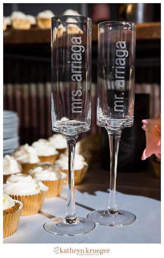 Mr. & Mrs. modern champagne flutes