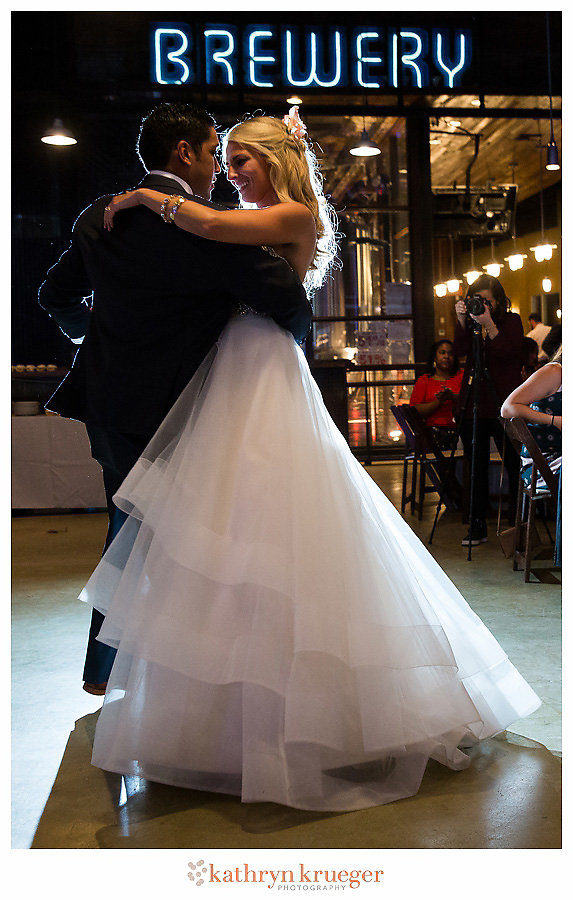 Bride & groom first dance; Brewery sign