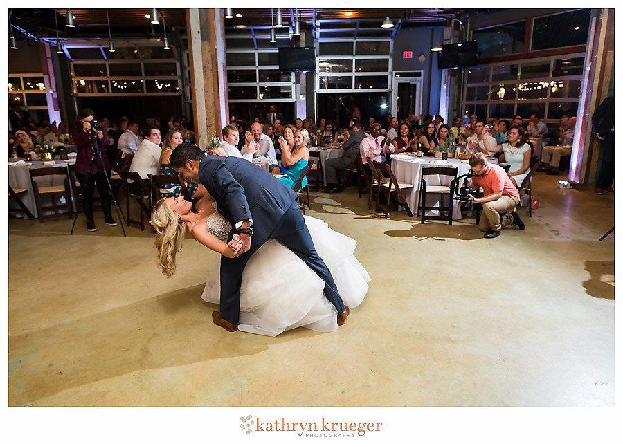 Bride & groom first dance dip