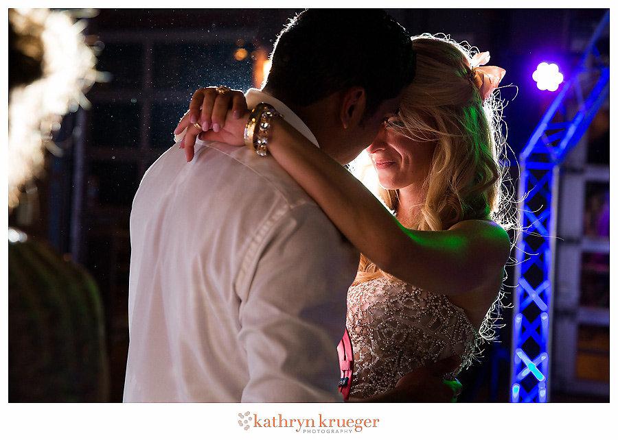 Romantic bride & groom last dance