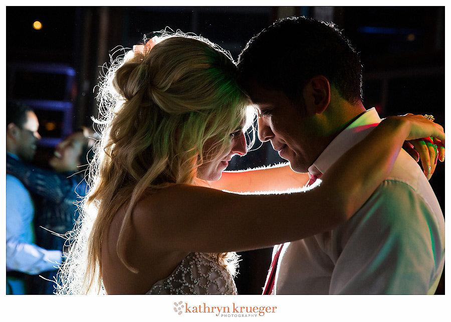 Romantic bride & groom last dance; end of wedding