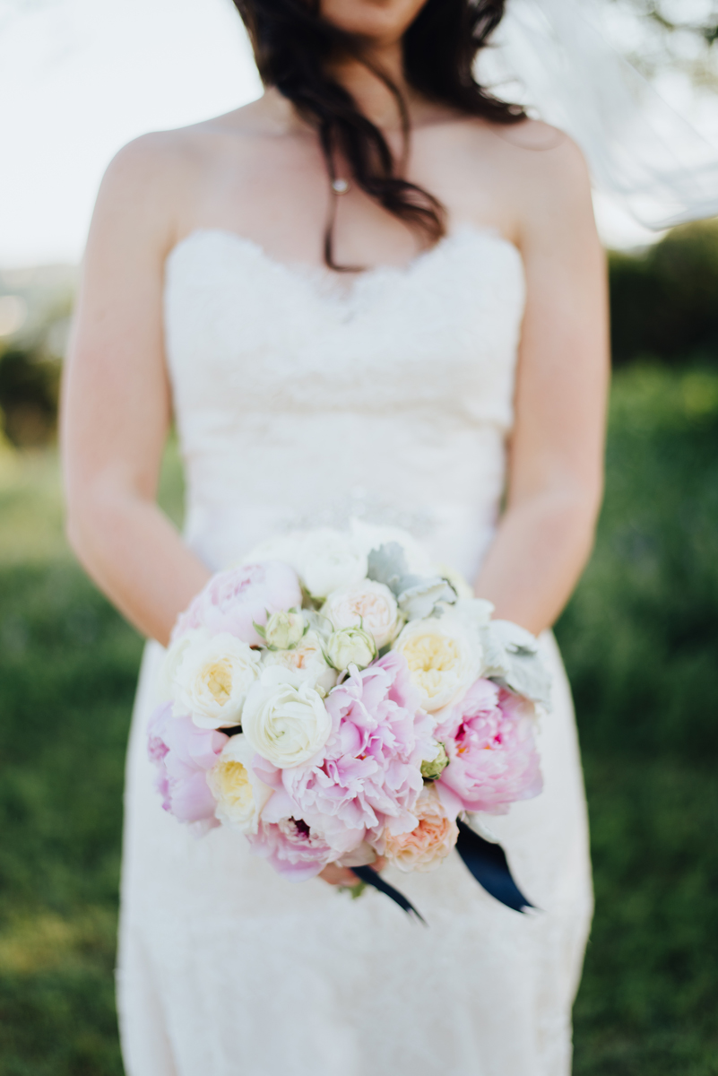 Bridal bouquet pink white ivory