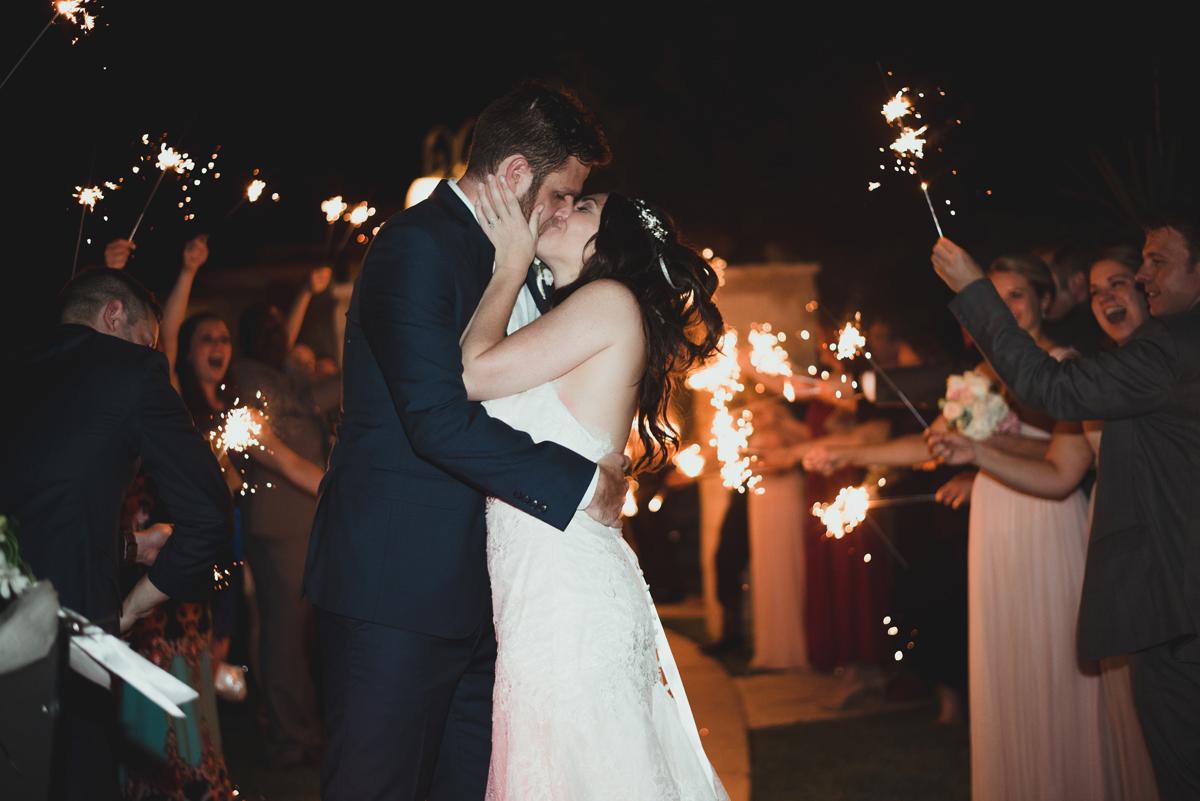 Sparkler exit kiss