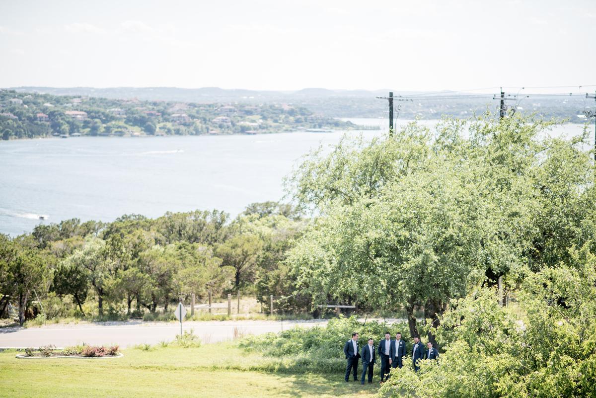 Groom and groomsmen lake travis