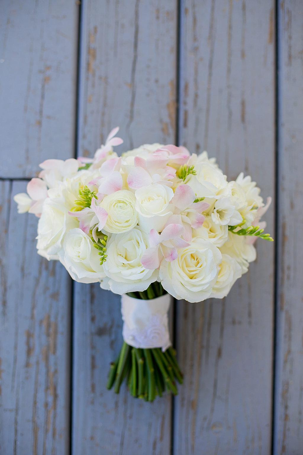 White, Blush, green bridal bouquet