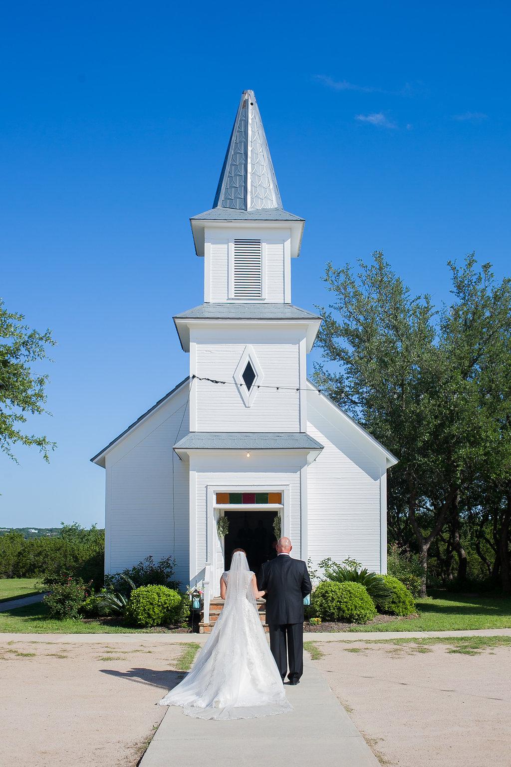 Bride & dad going into chapel