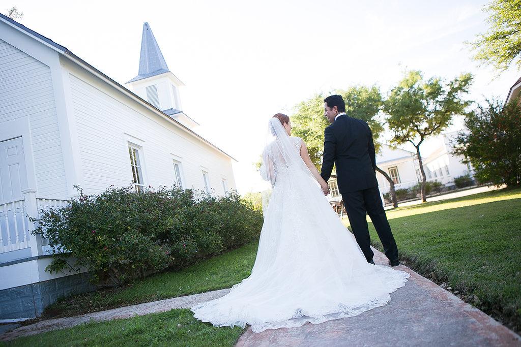 Back of bride's dress after ceremony