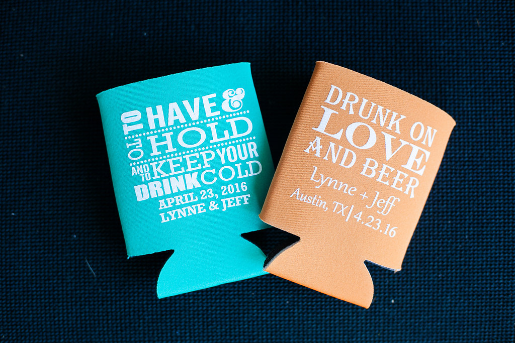Coral & turquoise koozies