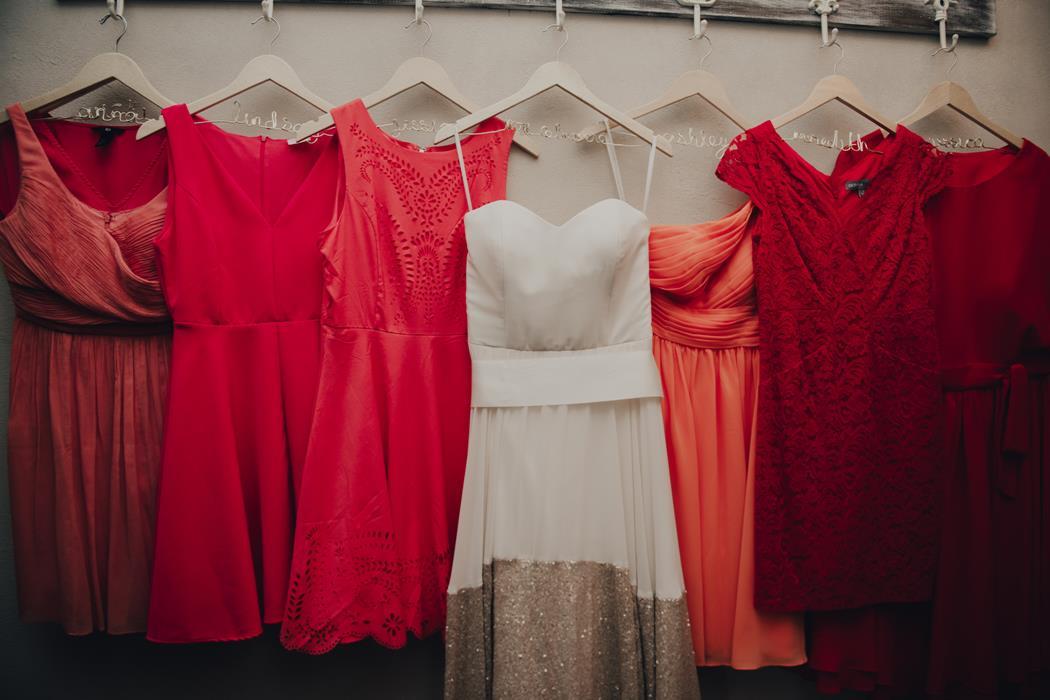 Bright Bridesmaids Dresses - red, coral, orange