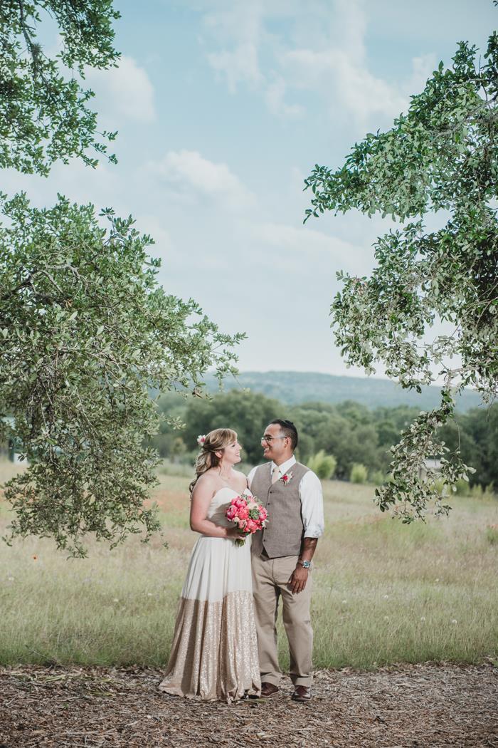 Bride and groom sky portrait at Ma Maison