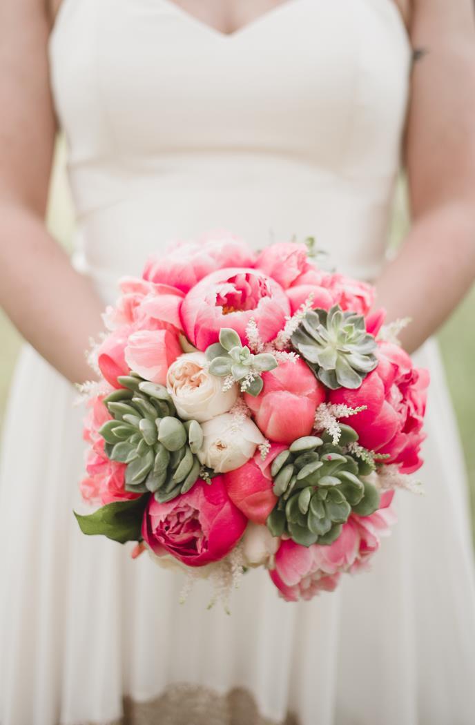 Pink coral white succulent bridal bouquet