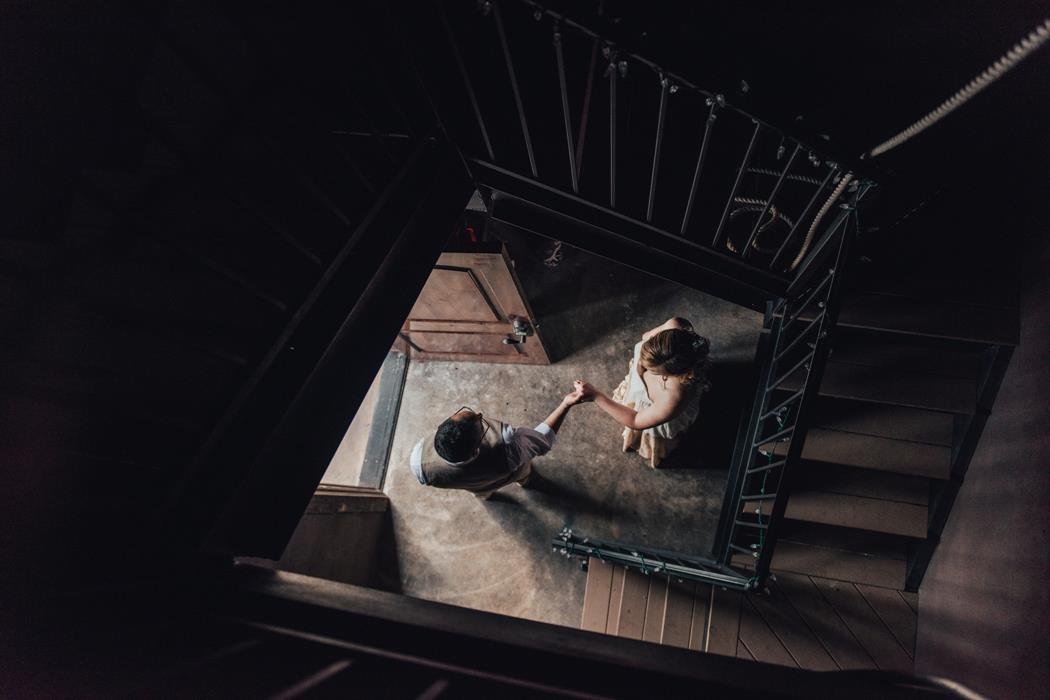 Bride and groom in Ma Maison belltower