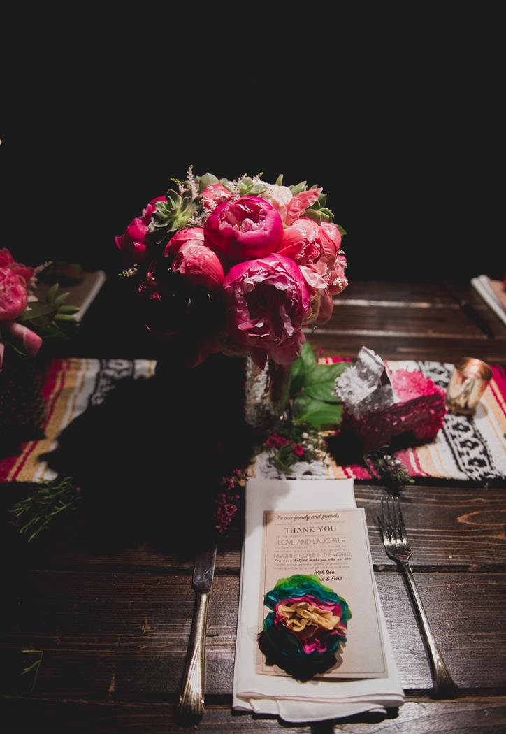 Reception centerpiece with Mexican blanket table runner