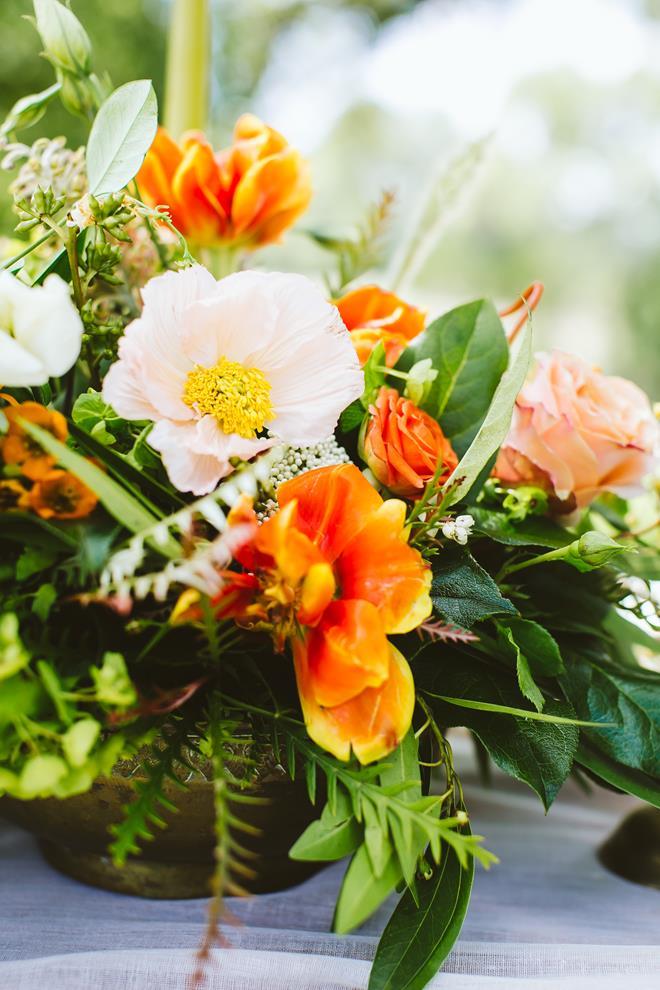 Wedding styled shoot orange peach green floral