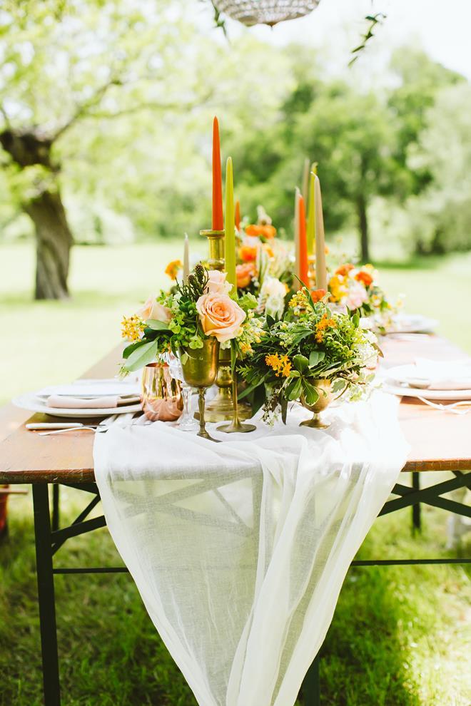 Fresh Fall Boho wedding styled shoot orange green tablescape