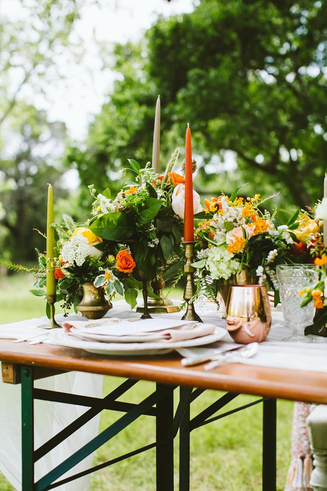 Brides of Austin Fresh Fall Boho wedding style shoot tablescape centerpiece