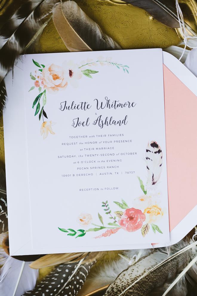 Peach orange green feather wedding invitation