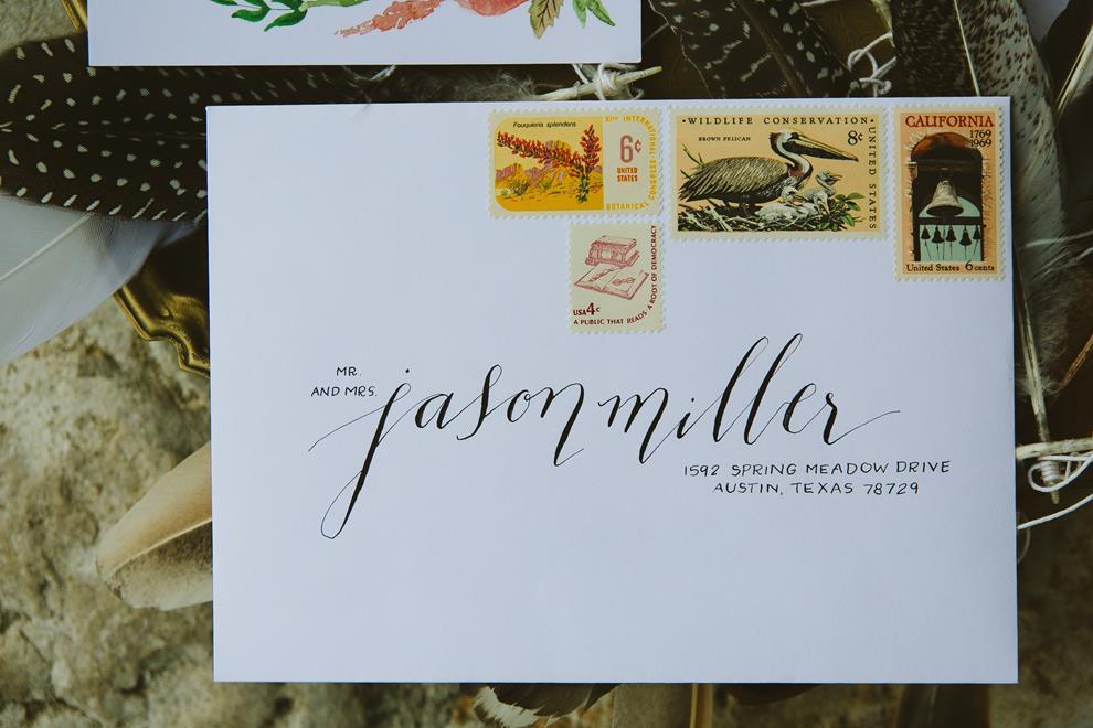 Archer & Olive address calligraphy vintage stamps