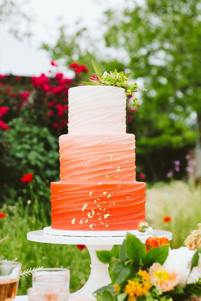 Buttercream orange ombre wedding cake