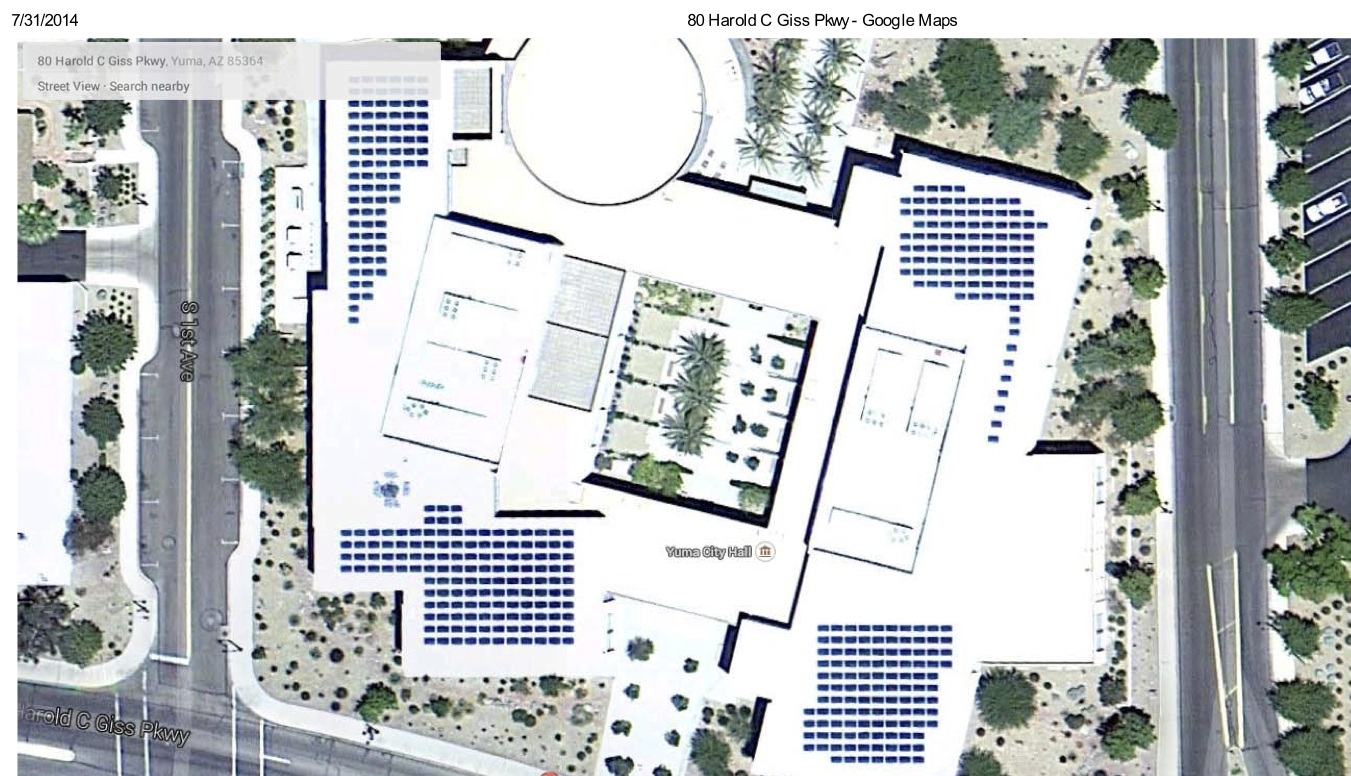 Satellite View of City of Yuma 100 kW Solar Project